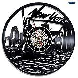 xcvbxcvb Reloj de Pared de Vinilo de la Ciudad de Nueva York: Decora tu hogar con Arte Moderno duvar saati