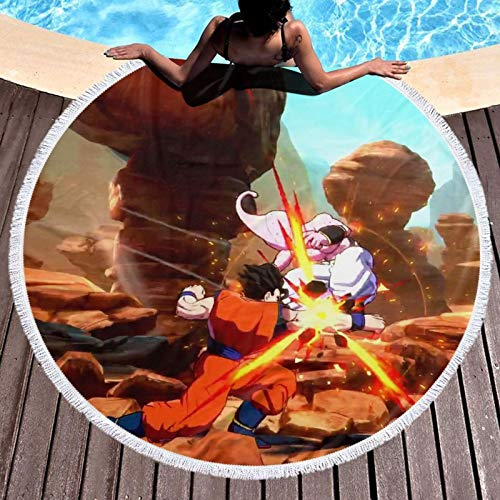 Dragon_Ball Z - Toalla de playa redonda de microfibra para niños, mujeres, hombres, niñas y niños