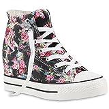 stiefelparadies Damen Sneakers High Top Keilabsatz Blumen Sneaker-Wedges Schuhe 139848 Schwarz Blumen 39 Flandell