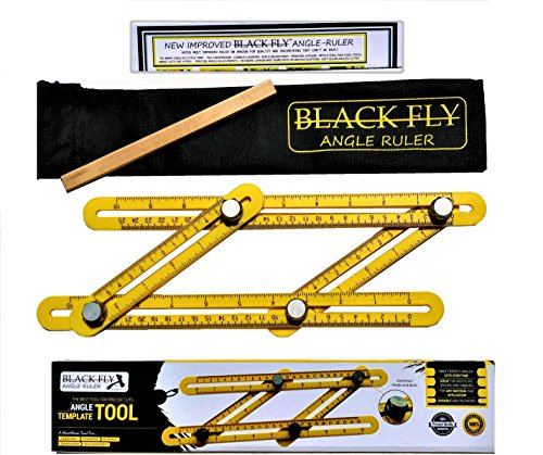 IMPROVED Black Fly Universal Angle Ruler Finder Template Tool Unique DIY GIFT SET for Men Women 70% STRONGER Ultimate ALL ALUMINUM Knobs Carpenter Pencil Tool Bag Instruction & Gift Box!