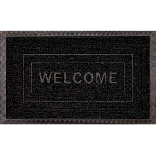 Gorilla Grip Original Durable Natural Rubber Door Mat, Waterproof, Low Profile, Heavy Duty Doormat for Indoor and Outdoor, Easy Clean, Rug Mats for Entry, Patio, Busy Areas, 17x29, Black Welcome