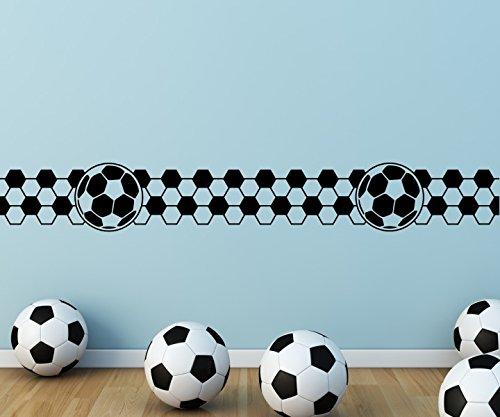 Wandtattoo selbstklebend Bordüre Fussball Karo Muster Ball Spieler Bälle Sport Set Wand Aufkleber Wohnzimmer 1U362, Farbe:Königsblau Matt;Länge x Breite:200cm x 28cm