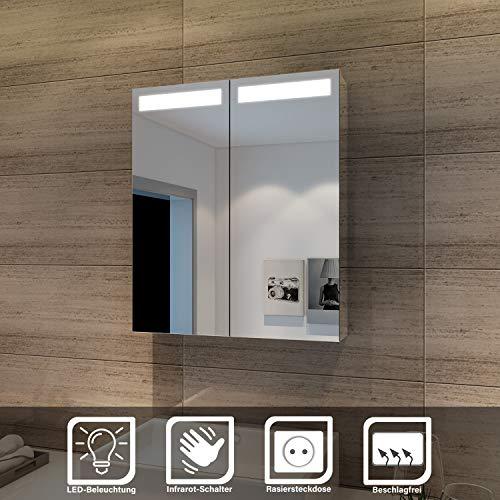 Elegant Sonni Led Spiegelschrank mit Beleuchtung 60 x 70 cm Infrarot Sensorschalter Badezimmerspiegel 2-türig Badschrank mit Rasierersteckdose
