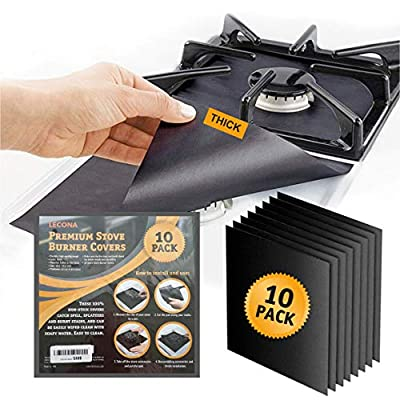 """10 pack, gas stove protector, stove burner liners, stovetop range protectors, set top burner covers black, size 10.6"""" x 10.6"""" non stick reusable cover easy to clean, double thickness"""