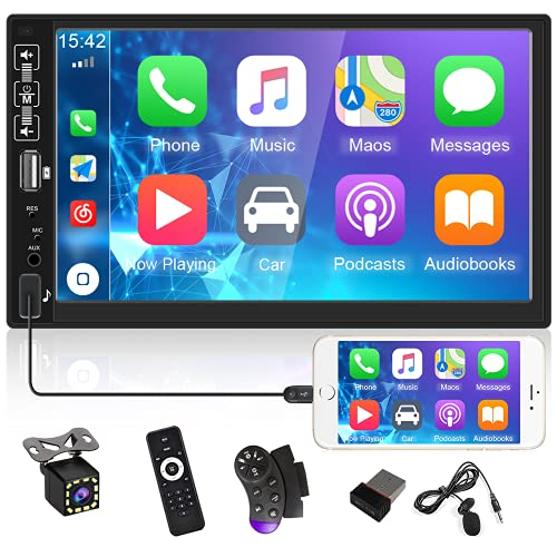 UNITOPSCI Double Din Car Stereo Radio 7 Inch HD Capacitive Touch Screen Car Multimedia Player with Bluetooth FM Radio USB Mirror Link D-Play for Android/ iOS Backup Camera Remote Control Microphone