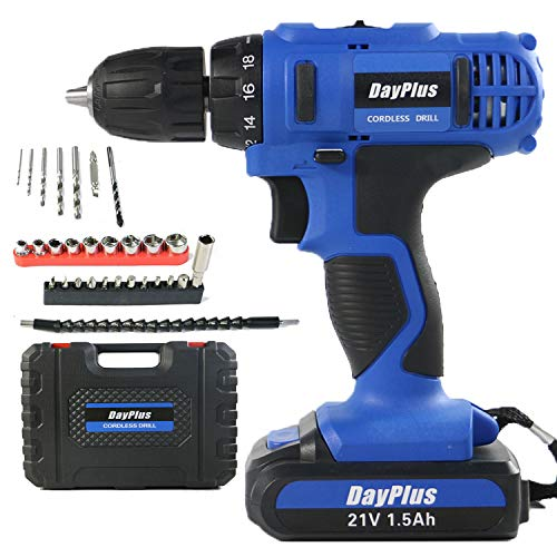 Electric Drill Power Impact Drill Heavy Duty Variable Speed Cordless Drill Driver Combi Drill Driver 45Nm, 21V, 1.5Ah Rechargeable Li-Ion Battery, 1400RPM Max Speed, Accessory Kit