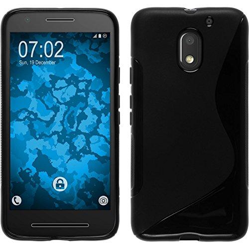 PhoneNatic Hülle kompatibel mit Lenovo Moto E3 - schwarz Silikon Hülle S-Style + 2 Schutzfolien