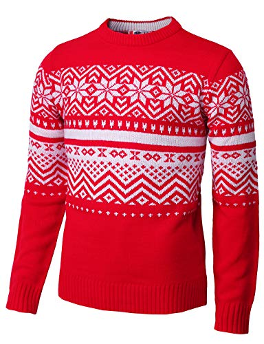 H2H Mens Casual Snowflake Patterned Christmas Pullover Sweater RED US M/Asia L (CMOSWL035)