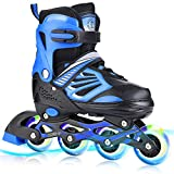 TylooVi Blue Adjustable Inline Skates for Boys Girls and Women with All Illuminating Wheels. Outdoor...