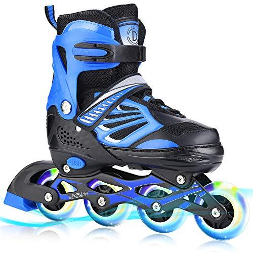 TylooVi Blue Adjustable Inline Skates for Boys...