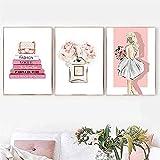 BIGSHOPART Vogue Bag Book Carteles de Moda Peonía Botella de Perfume Lienzo Pintura Belleza Chica Arte de la Pared Imágenes Impresas Decoración Moderna para Sala de Estar / 40x50cmx3 Sin Marco