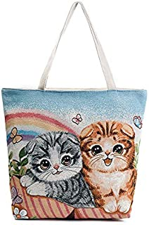 Gimax Top-Handle Bags - Mara's Dream Women Canvas Handbag Cartoon Cat Printed Shoulder Handbag Bolsa Feminina Tote Shopping Bag Sac A Main Beach Bag - (Color: C 709c, Size: Medium Size)