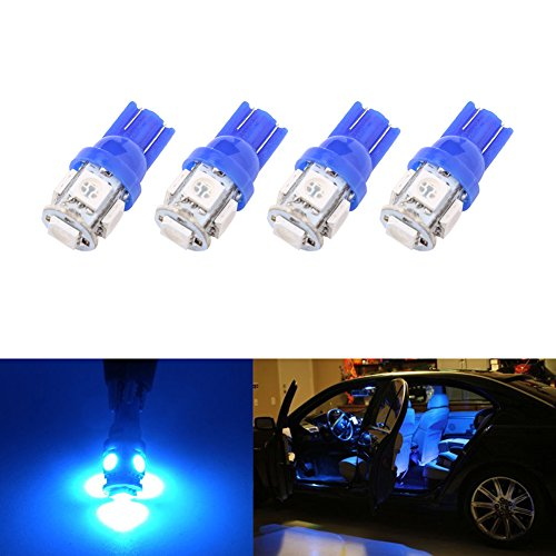 194 T10 W5W 5SMD 5050 Trisense 12v LED Light Bulb Blue 2825 158 192 168 for Car/Motor Interior Dome Parking Side Turn Signal Dashboard License Number Plate Light Bulbs Lamp (pack of 4)