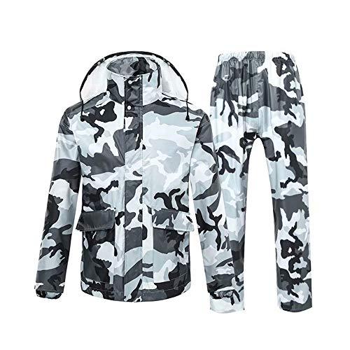 CUIJU Chaquetas de Traje de Lluvia Impermeable para Hombre Chubasquero con Capucha a Prueba de Viento Traje de Lluvia de Dos Piezas en Camuflaje,Gris,XL