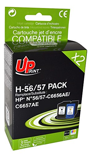 Pack de 2 cartouches compatible HP C6656A/C6657A - Noir + Cyan, Magenta, Jaune - marque : UPrint H-56/57 PACK - Imprimantes : DESKJET 450 SERIES / DESKJET 450CBi / DESKJET 450Ci / DESKJET 5100 / DESKJET 5145 / DESKJET 5150 / DESKJET 5151 / DESKJET 5550 / DESKJET 5552 / DESKJET 5650 / DESKJET 5652 / DESKJET 5655 / DESKJET 5850 / DESKJET 9650 / DESKJET 9670 / DESKJET 9680 / OFFICE