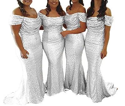 Bridesmaid Dress Sequin Prom Dresses Long Wedding Party Dresses Mermaid Bridesmaid Dresses Off Shoulder Silver