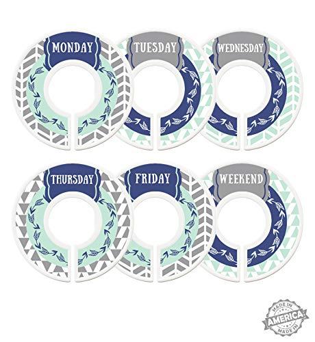 Modish Labels Daily Clothes Organizers, Days of Week Closet Dividers, Closet Organizers, School Supplies, Work Week Clothes Organizer, Boy, Male, Men, Arrows, Tribal, Navy Blue, Mint, Grey (Days)