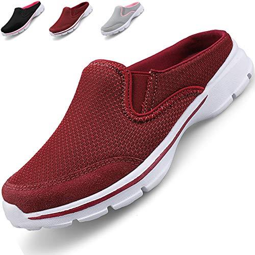Acfoda Slip On Hausschuhe Damen Sommer Sabot Schuhe Mesh Atmungsaktive Pantoffeln Geschlossen Pantoletten Leicht Clogs, 40 EU, Rot