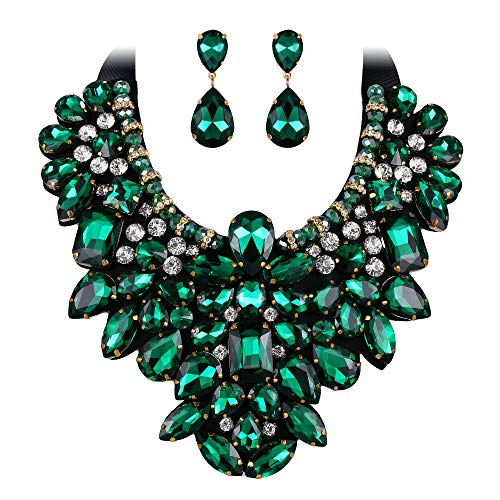 EVER FAITH Costume Jewelry for Women, Green Rhinestone Crystal Chunky...