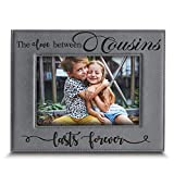 BELLA BUSTA -Cousins-The Love Between Cousins Lasts Forever_Birthday, for Cousin -Engraved Leather Picture Frame (5 x 7 Horizontal)