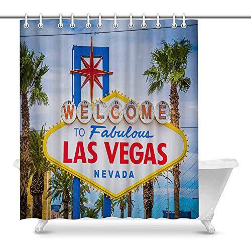 FANCYDAY Willkommen in Las Vegas Schöne amerikanische Stadt wasserdichtem Polyester Duschvorhang Badezimmer-Sets mit Haken