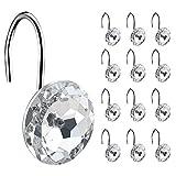 Coideal - 12 ganchos decorativos para cortina de ducha (cristal, acero inoxidable con diamantes de imitación redondos)
