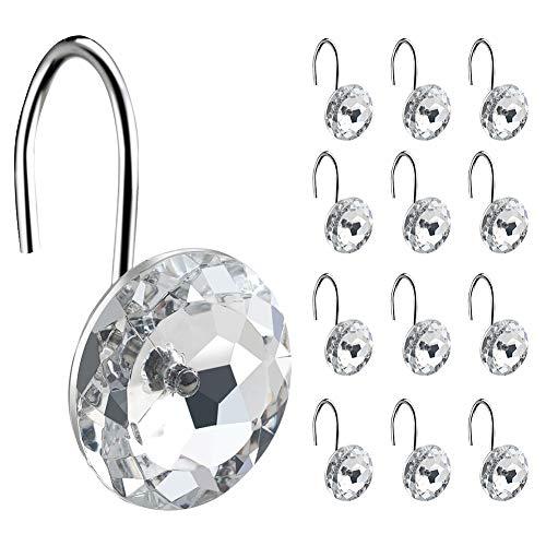 Coperfekt Duschvorhang-Haken, Ringe für Badezimmer, Dekorative Kristall Transparent, 12 Stück Silber