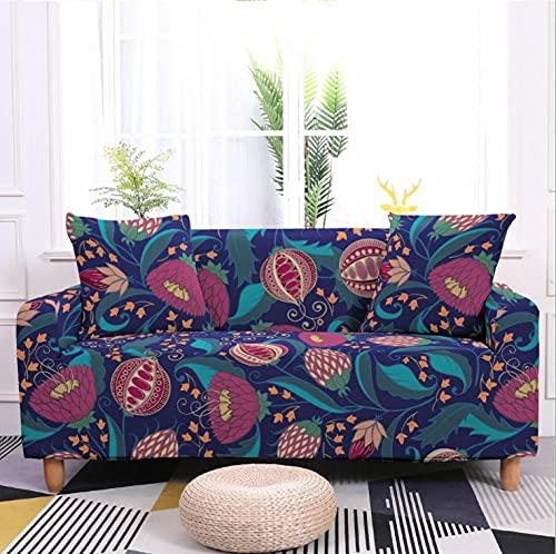 Flor de Granada Azul Funda de sofá de 3 Plazas Funda Elástica para Sofá Poliéster Suave Sofá Funda sofá Antideslizante Protector Cubierta de Muebles Elástica