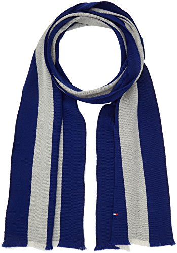 Tommy Hilfiger heren SPRING COLLEGE SCARF sjaal, bruin (Blue & Silver 902), één maat