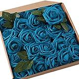 JaosWish Rose Artificielle Fausse Fleur 25 pcs Tige Feuille Ajustable Touche réelle déco Mariage Restaurant Maison Anniversaire Chambre Table Armoire (Bleu)