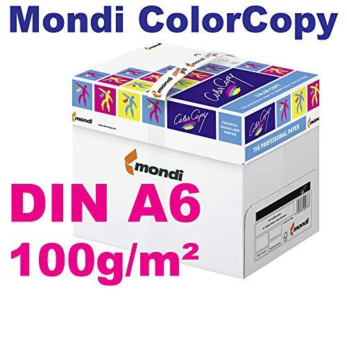 Mondi ColorCopy DIN A6 Papier 100g/m² VE = 100 Blatt Papier weiß für Laserdrucker und InkJet geeignet
