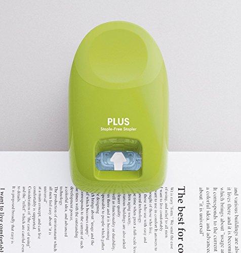 PLUS Japan, Klammerloser Hefter Schreibtischmodell in Grün, Heftleistung 10 Blatt, 1er Pack (1 x 1 Hefter) - 4