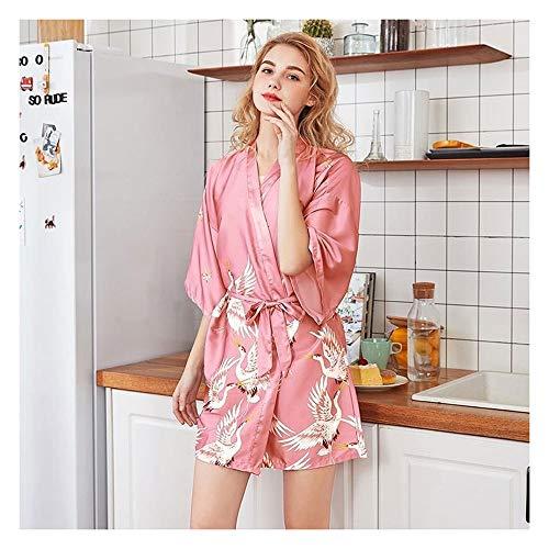 Vrouwen nachtkleding, Rayon Satin Summer Robe Kimono badtoga Print Flower Sexy Bruid van het Huwelijk Badjas Casual nachtmode (Color : Robe 19, Size : XXL)