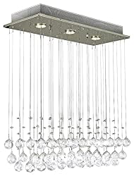 Modern Chandelier Rain Drop Lighting Crystal Ball Fixture Pendant Ceiling Lamp, H39 X W25 X Depth 10, 3 Lights