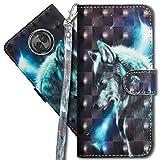 MRSTER Moto X4 Handytasche, Leder Schutzhülle Brieftasche Hülle Flip Hülle 3D Muster Cover mit Kartenfach Magnet Tasche Handyhüllen für Motorola Moto X4. YX 3D - Wolf