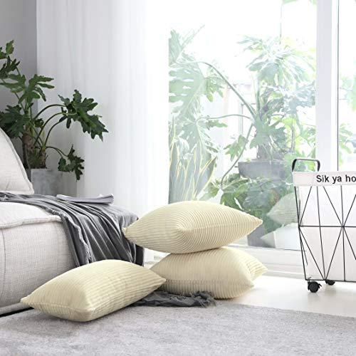 HomeBrilliantクッションカバークッション45x45コールテン縞ソファ背当て北欧部屋飾り暖かい純色45×45cmベージュ2枚セット