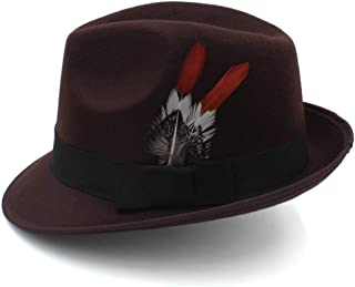 Lei Zhang Men's Jazz Hat Knight Wool Hat England Cap Autumn And Winter Casual Hat Feather Fedora Hat