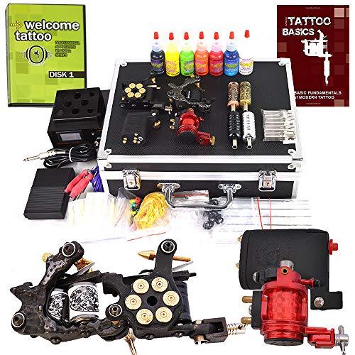 Carver Tattoo Kit 4 Machine Guns Power Supplies / 2 Rotary Machines / 2 Coil Machines / 7 Ink/LCD Power Supply / 50 Needles/Plus Accessories