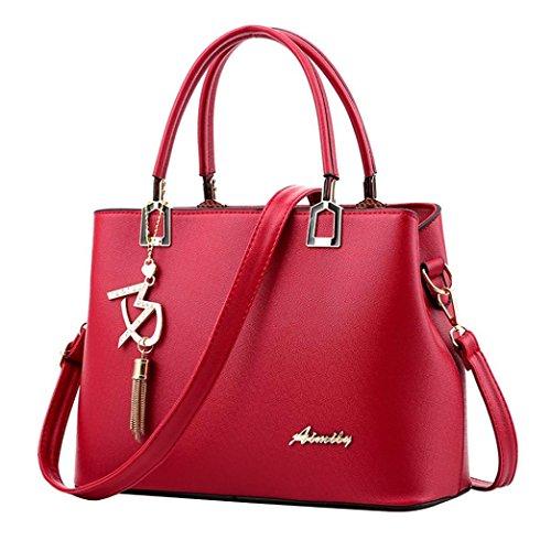 TUDUZ Damen Handtaschen Schulterbeutel Frauen PU Leder Designer Messenger Bag Umhängetasche (Rot)