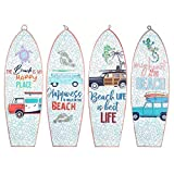 CAPRILO. Set de 4 Adornos Pared Decorativos de Madera Tablas Surf-Beach. Cuadros y Apliques. Decoración Hogar Marinera. Muebles Auxiliares. Regalos Originales. 20 x 0,90 x 60 cm.