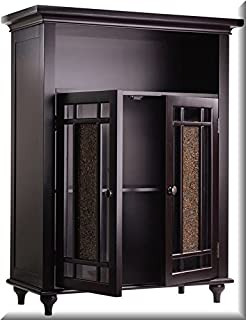 Double-door 3-shelf Floor Cabinet Is Espresso In Color With A Beautiful Old Fashion Look. The Amber Glass Brightens Up Any Room In Your Home or Office