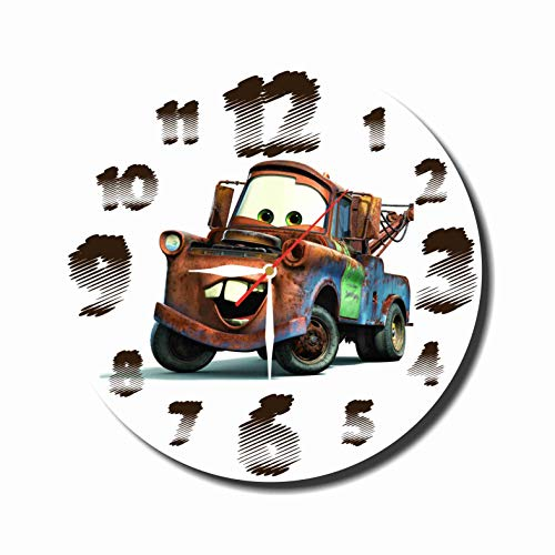 MAGIC WALL CLOCK FOR DISNEY FANS Cars - Mater 11.8'' Handmade Made of Acrylic Glass - Get Unique décor for Home or Office – Best Gift Ideas for Kids, Friends, Parents and Your Soul Mates