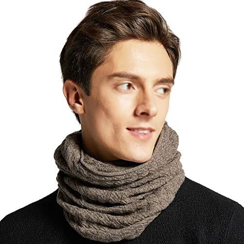 ZRJ Braga de cuello para hombre, de punto grueso, acanalada, con borde infinito, para invierno, para hombre y mujer, de lana pura (color: marrón)