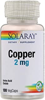 Solaray Copper 2 mg   Healthy Red Blood Cell Formation, Immune and Nerve Function Support   Non-GMO   100ct