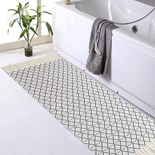 hi-home Baumwolle Teppich, Boho Gewebte Teppich mit Quasten Waschbar Retro Teppiche Läufer für Wohnzimmer Schlafzimmer Eingangstür Küche 60x130cm(Schwarz)