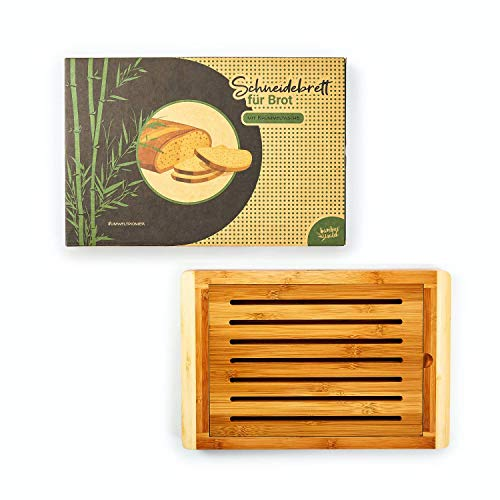 bambuswald© ökologisches Brotschneidebrett mit Krümmeltasche aus 100% Bambus - Schneidebrette Brotbrett Auffangschale Krümelrille Krümelrost Krümelgitter Holzbrett
