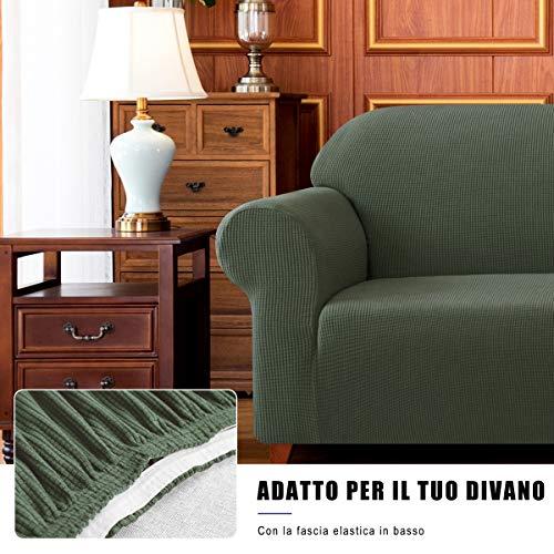 subrtex 1-Pezzo Copridivano Elasticizzato Due Posti AntiGraffio per Gatto Cani, Elastico Moderno Tessuto Morbido Divano Protector (2 Posti, Verde Oliva)