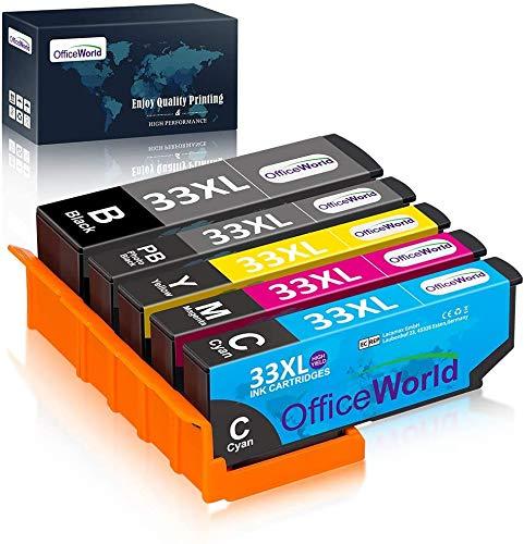 OfficeWorld Cartuchos de tinta Epson 33 33XL para Epson Expression Premium XP-900 XP-540 XP-7100 XP-830 XP-630 XP-530 XP-640 XP-645 XP-635 (Pack de 5) Negro, cian, magenta, Amarillo, Negro Foto