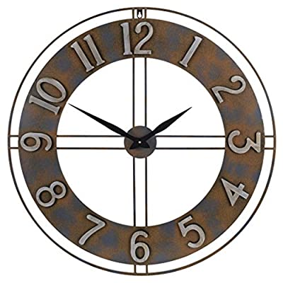 Old Oak 30-Inch Large Metal Decorative Rusty Wall Clock with Arabic Numerals