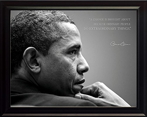 WeSellPhotos Barack Obama Photo Picture Poster Framed Quote A Change is Brought About Because Ordinary People US President Portrait Famous Inspirational Motivational Quotes (8x10 Framed)